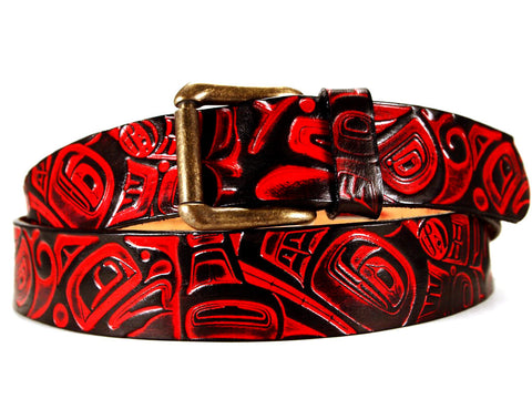 "Handmade Leather Belt-""Killer Whale & Seahawk"""