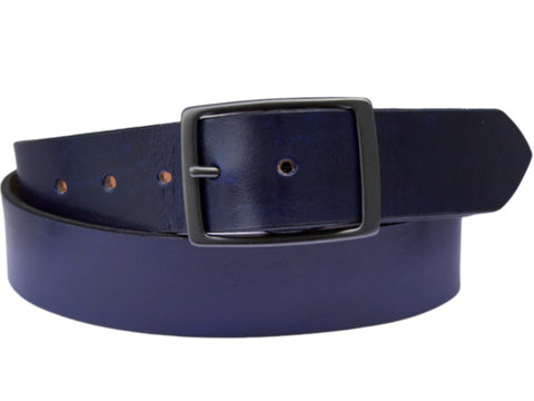 Handmade Leather Belt-Navy Blue