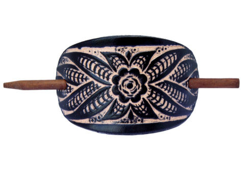 Wildflower Leather Hair Barrette