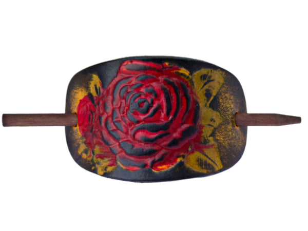 Desert Rose Leather Hair Barrette