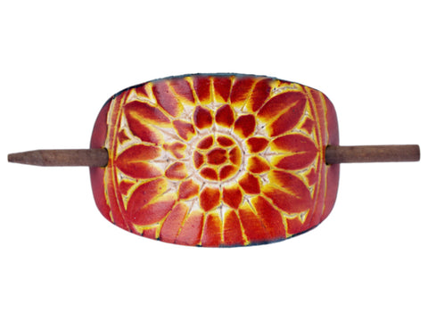 Sunflower Leather Hair Barrette