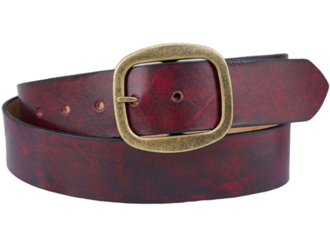 Handmade Leather Belt-Burgundy