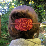 Gaelic Leather Hair Barrette