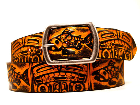 "Handmade Leather Belt-""Salmon & Bear"" (1.75"")"