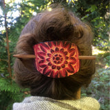 Sunflower Leather Hair Barrette - Ruby