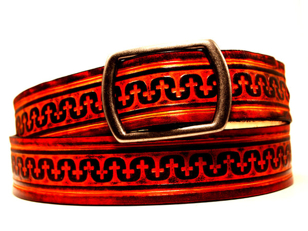 "Handmade Leather Belt-""Templar"" (1.75"")"