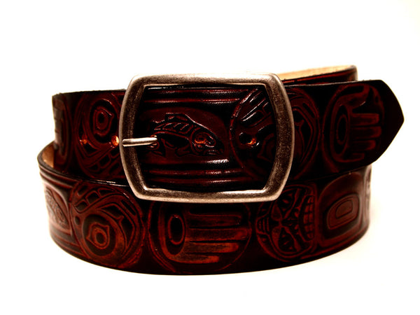 "Handmade Leather Belt-""Totem"" (1.75"")"