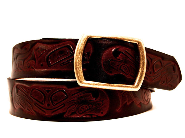 "Handmade Leather Belt-""Tsimshian"" (1.75"")"