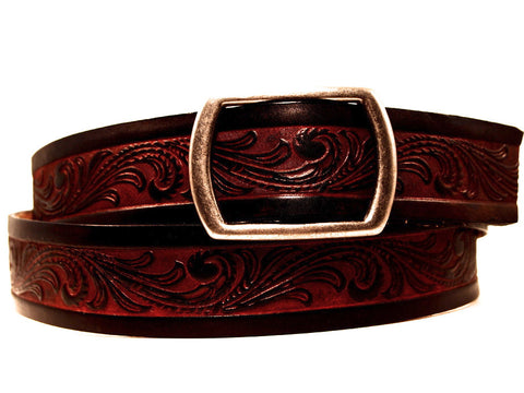 "Handmade Leather Belt-""Western Scroll"" (1.75"")"