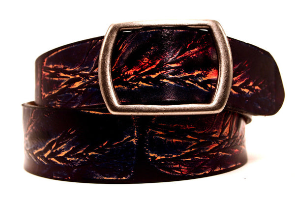 "Handmade Leather Belt-""Wild Grass"" (1.75"")"