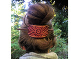 Wildflower Leather Hair Barrette - Ruby
