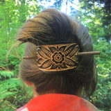 Wildflower Leather Hair Barrette - Chocolate