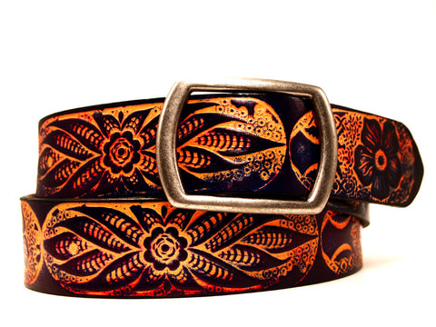"Handmade Leather Belt-""Wildflower"" (1.75'')"