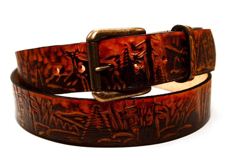 "Handmade Leather Belt-""Wildlife Scene"""