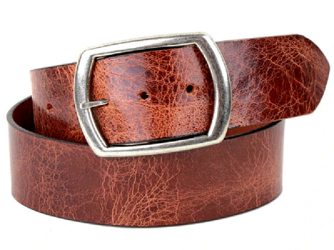 "Handmade Wide Leather Snap Belt-""Distressed Tan'' (1.75'')"