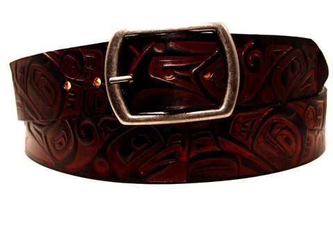 "Handmade Leather Belt-""Killer Whale & Seahawk""  (1.75"")"