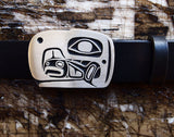 "Handmade ""Hawk and Salmon"" Belt Buckle"
