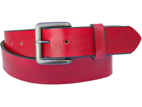 Handmade Leather Belt-Magenta