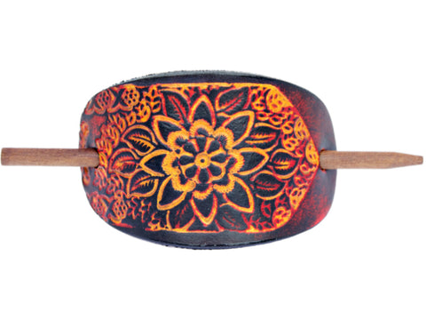 Floral Bloom Leather Hair Barrette