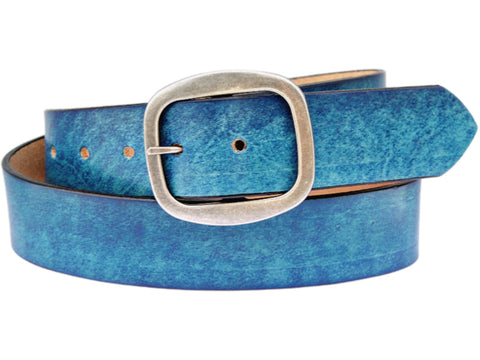 Handmade Leather Belt-Aqua
