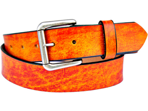 Handmade Leather Belt-Tangerine