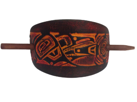 Raven and Sun Leather Hair Barrette