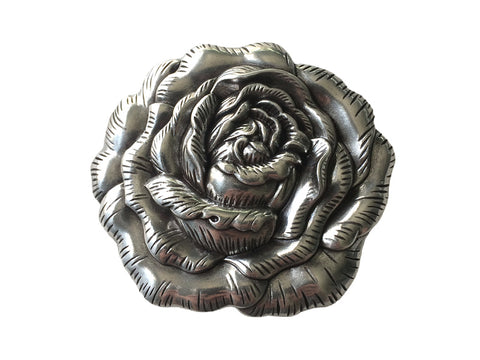 """Silver Rose"" Theme Belt Buckle"