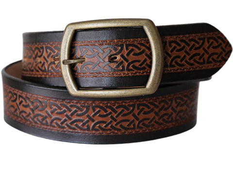 Celtic Scroll Wide Leather Belt
