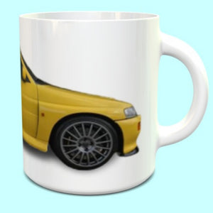 Ford Escort Cosworth RS Mug in Yellow