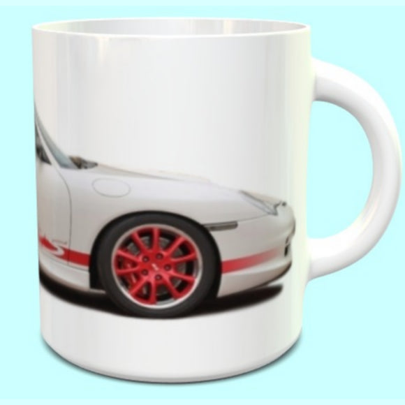 Porsche 911 996 GT3RS Mug White with Red Alloys