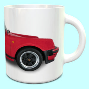 Porsche 911 930 Carrera 3.2 Supersport Cabriolet Mug in Guards Red