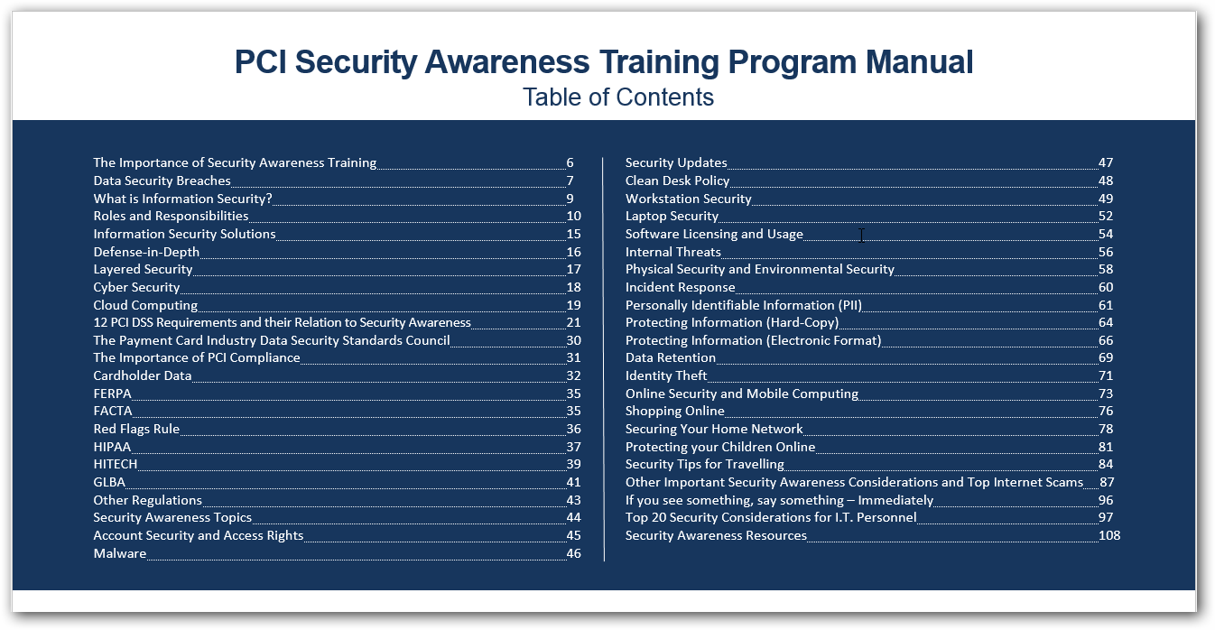 security awareness and training powerpoint ppt presentation pci