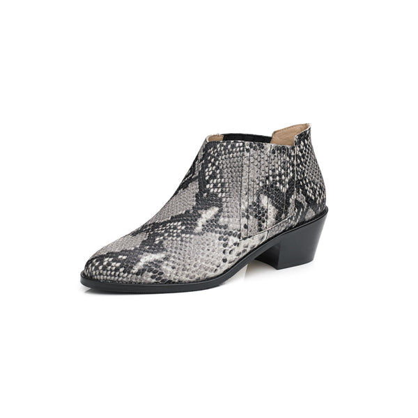 Women's Texan boot in snake print leather