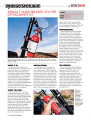 The Assault Industries Quick Release Fire Extinguisher Kit gets 5 stars in UTV Action Mag.