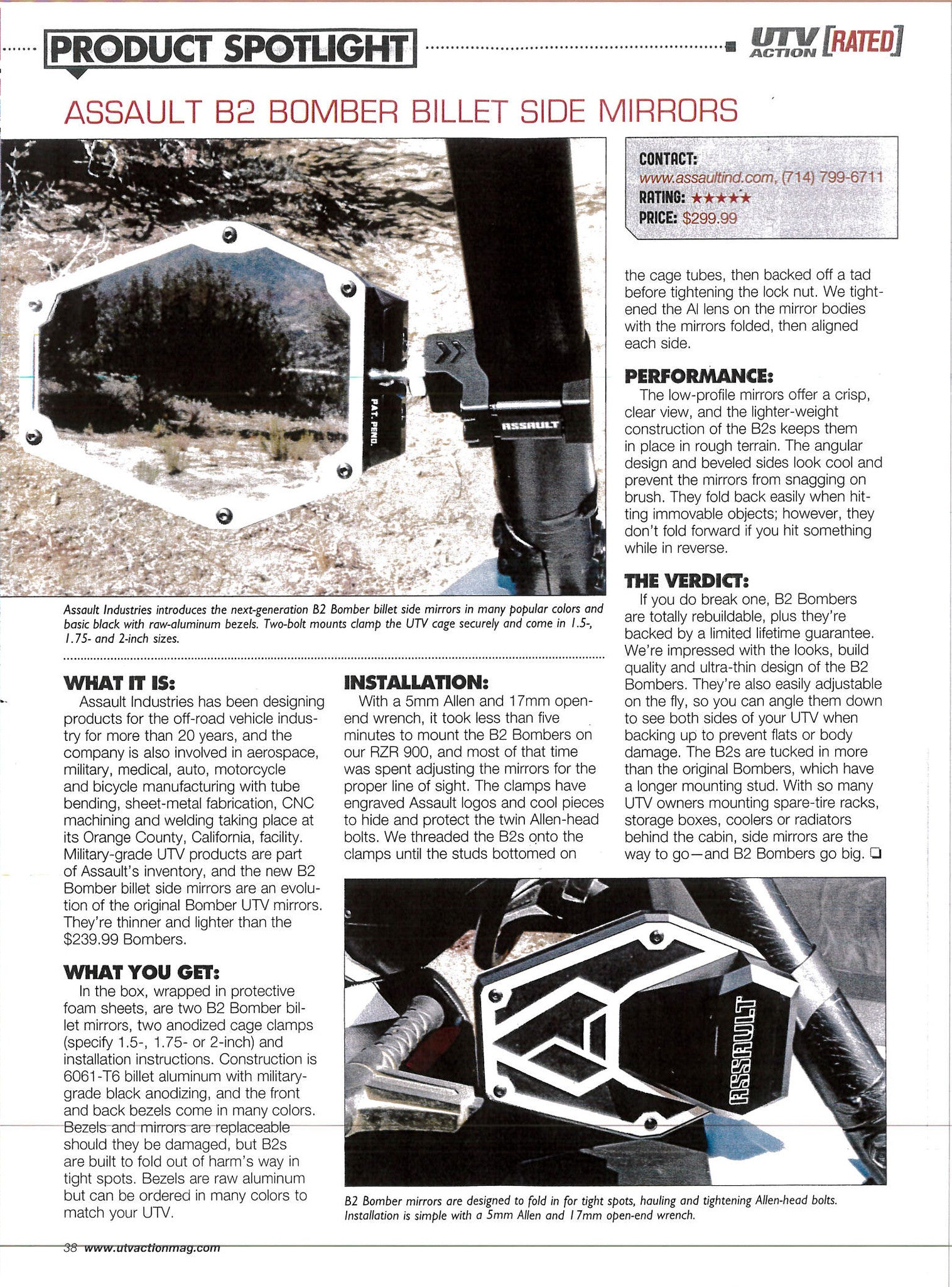 Assault Industries scores a 5 Star Review from UTV Action Magazine!