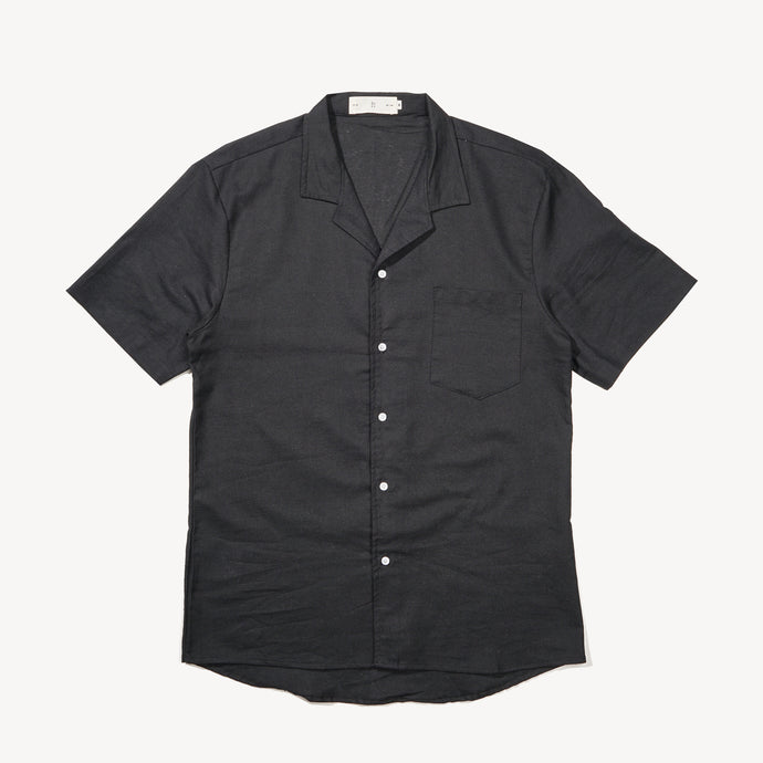 Relaxed Fit Black Bowling Shirt