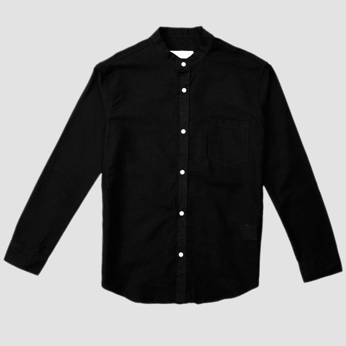 Relaxed Fit Black Linen Collar Long
