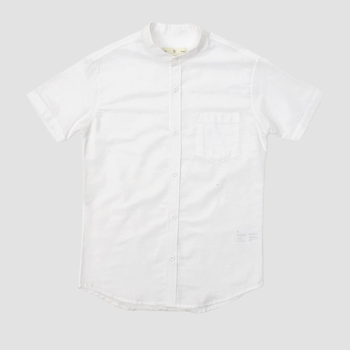 Relaxed Fit White Linen Collar Short