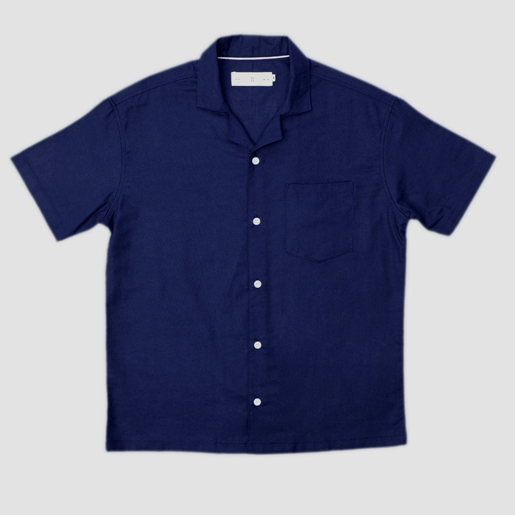 Relaxed Fit Navy Bowling Shirt