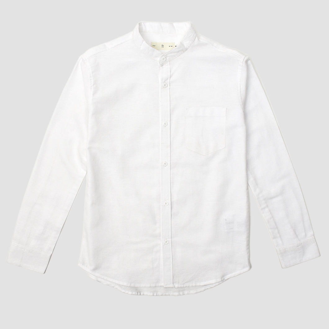 Relaxed Fit White Linen Collar Long