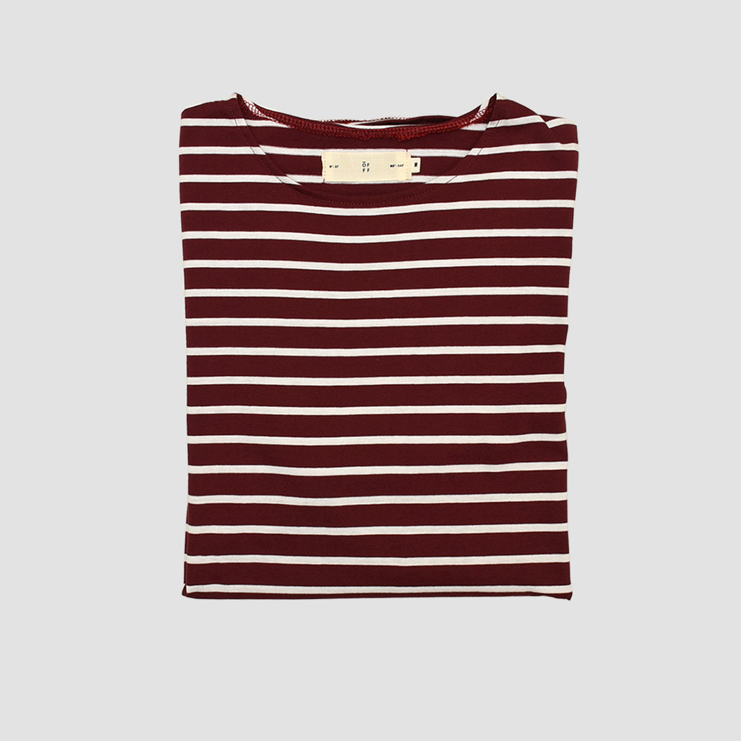 Maroon White Striped T-Shirt