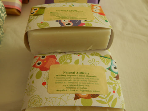 Pure Baby Soap with a hint of Chamomile.  Made with organic extra virgin olive oil (75g approx)