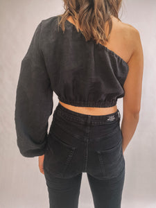 Linen Palm Top - Black