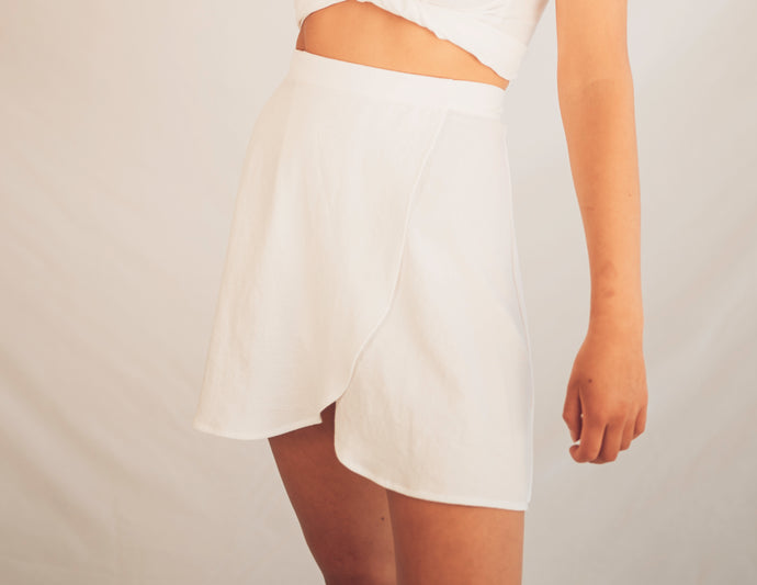 Short Wrap Skirt - White