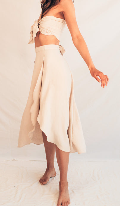 Long Wrap Skirt - Natural