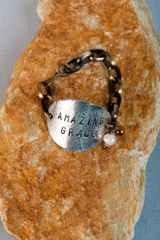 Hand-Forged Oval Bracelet: Amazing Grace
