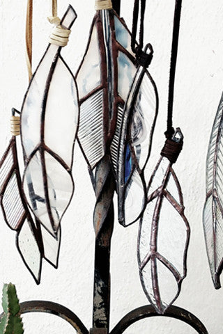 Stained Glass Feathers   -  Clear Glass