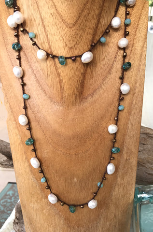 Turquoise & Pearl Crochet Necklace