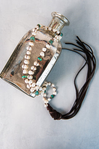 Brown Pearl & Turquoise Lariat Blonde Color Leather