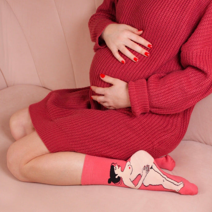 Pregnant Woman Socks - Black Hair [Free Shipping]